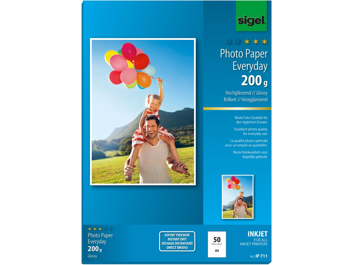 SIGEL InkJet Photo Paper A4 IP711 200g,glossy, blanc 50 feuilles (4004360998898)
